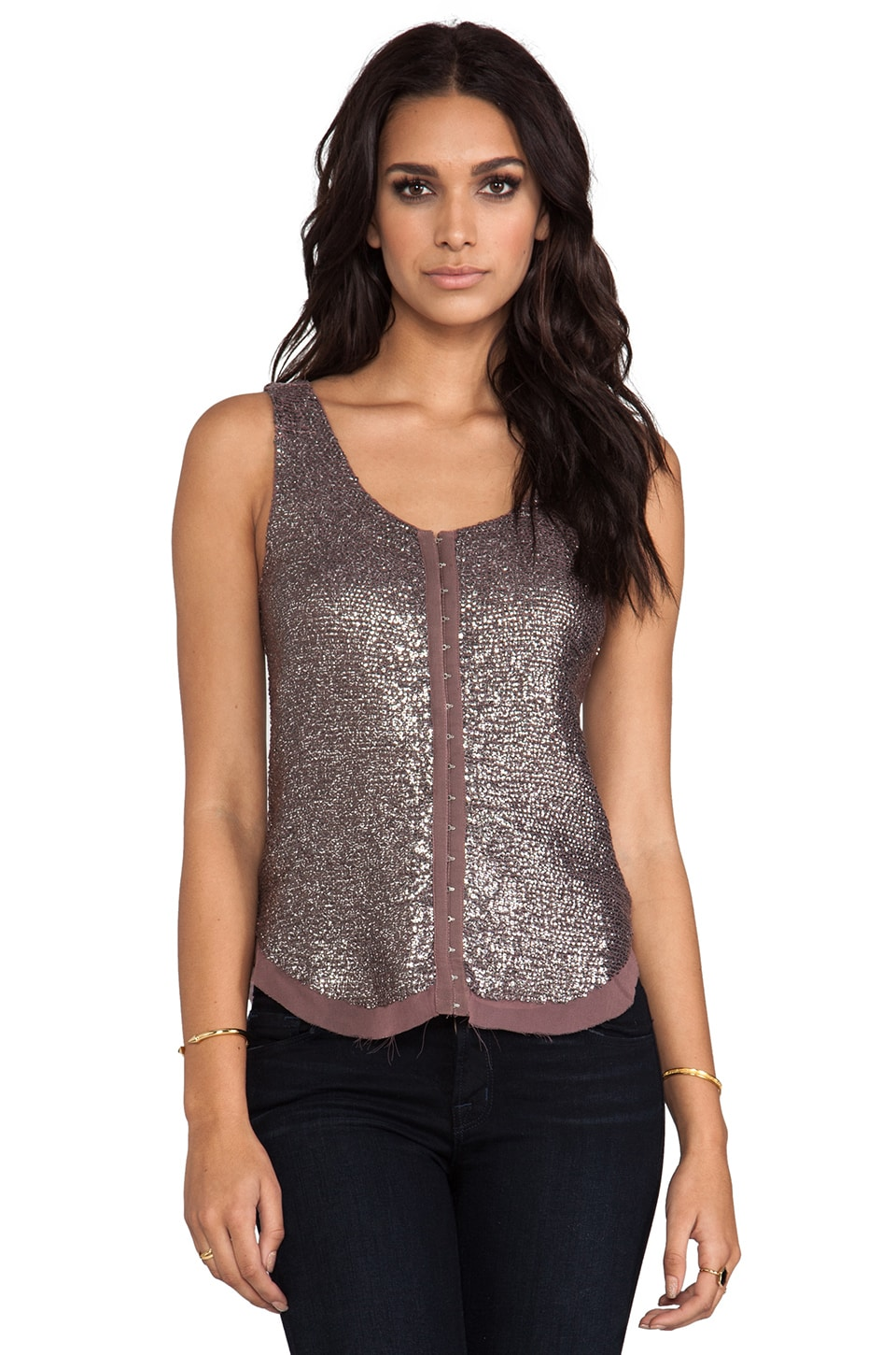 renzo + kai 2 Tone Sequin Hook and Eye Tank in Mauve/Silver