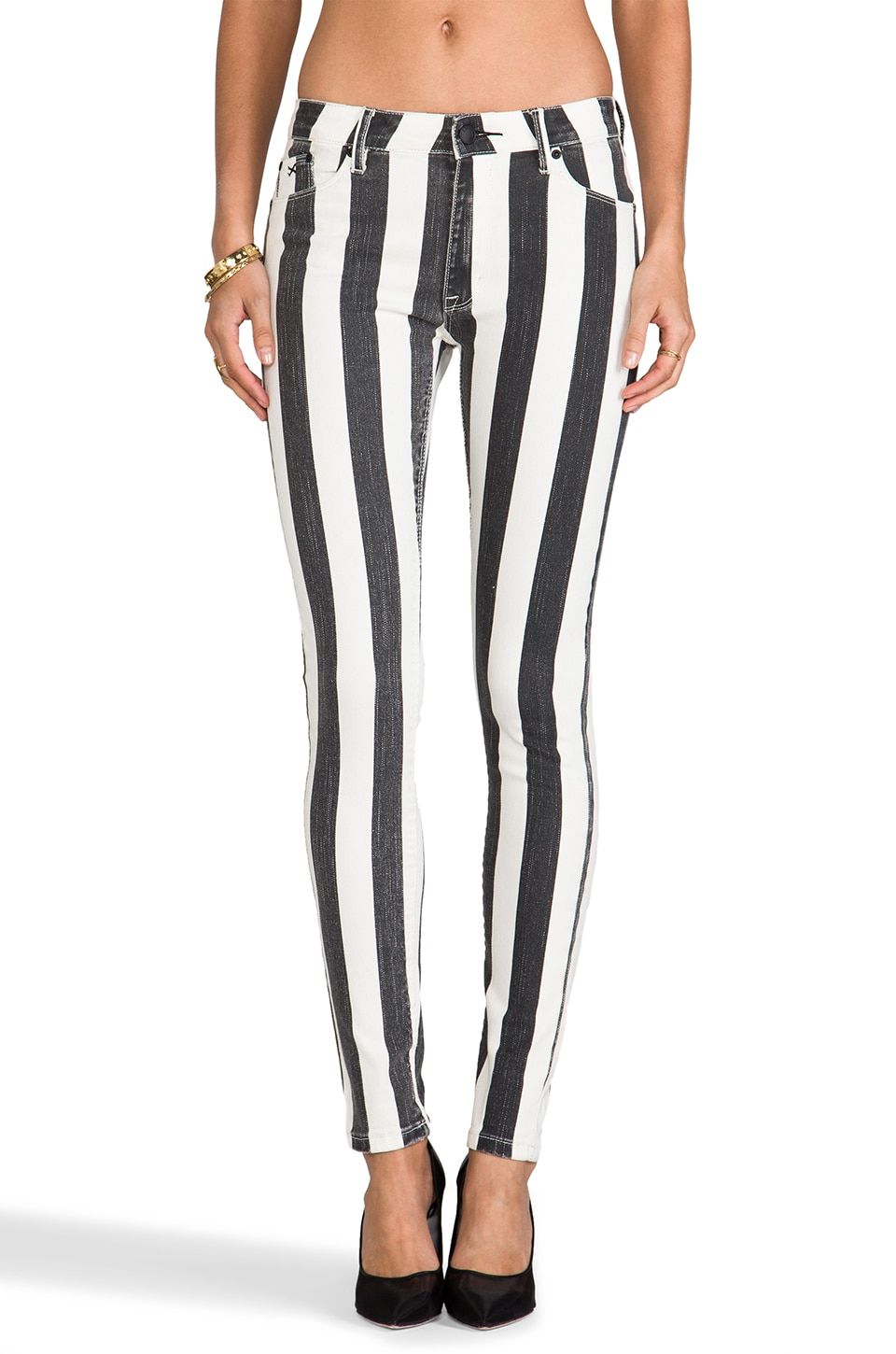 RES Denim Kitty Skinny in White Line Fever