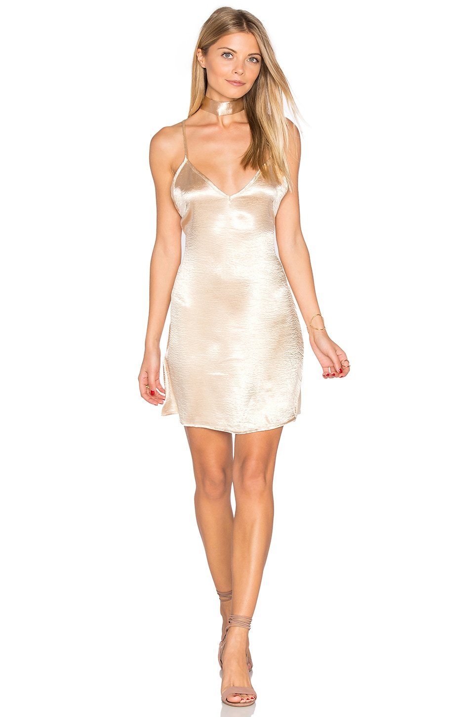 REVERSE Choker Slip Dress in Champagne