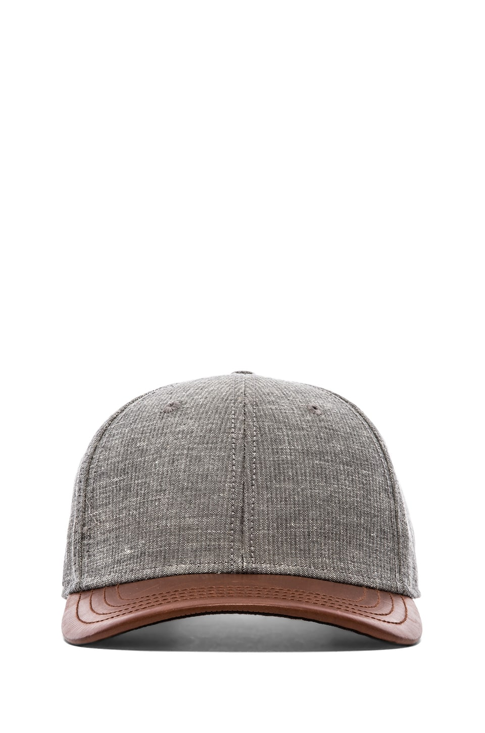 Rag & Bone Leather Brim Baseball Cap in Brown Multi