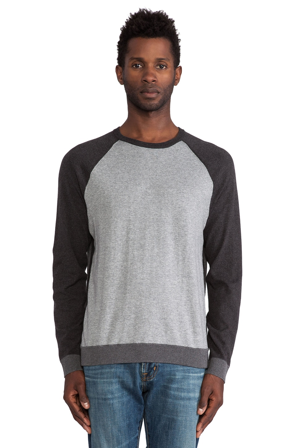 Rag & Bone Luke Raglan Crew in Grey