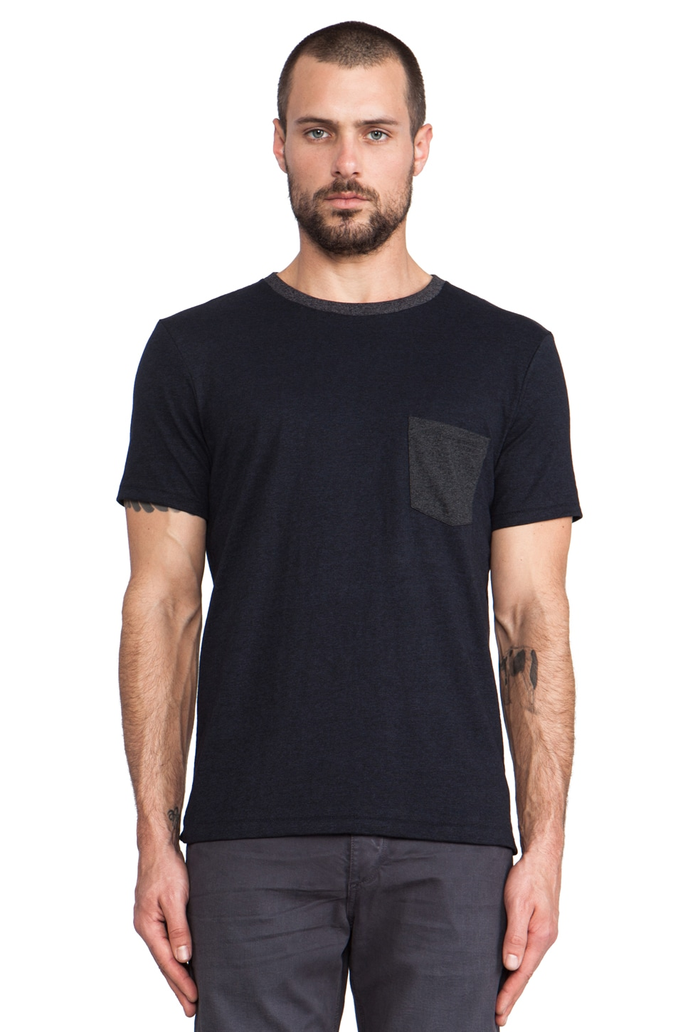 Rag & Bone Colorblock Pocket Tee in Navy
