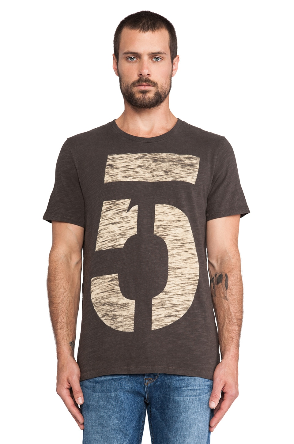 Rag & Bone Numbers Tee in Light Black