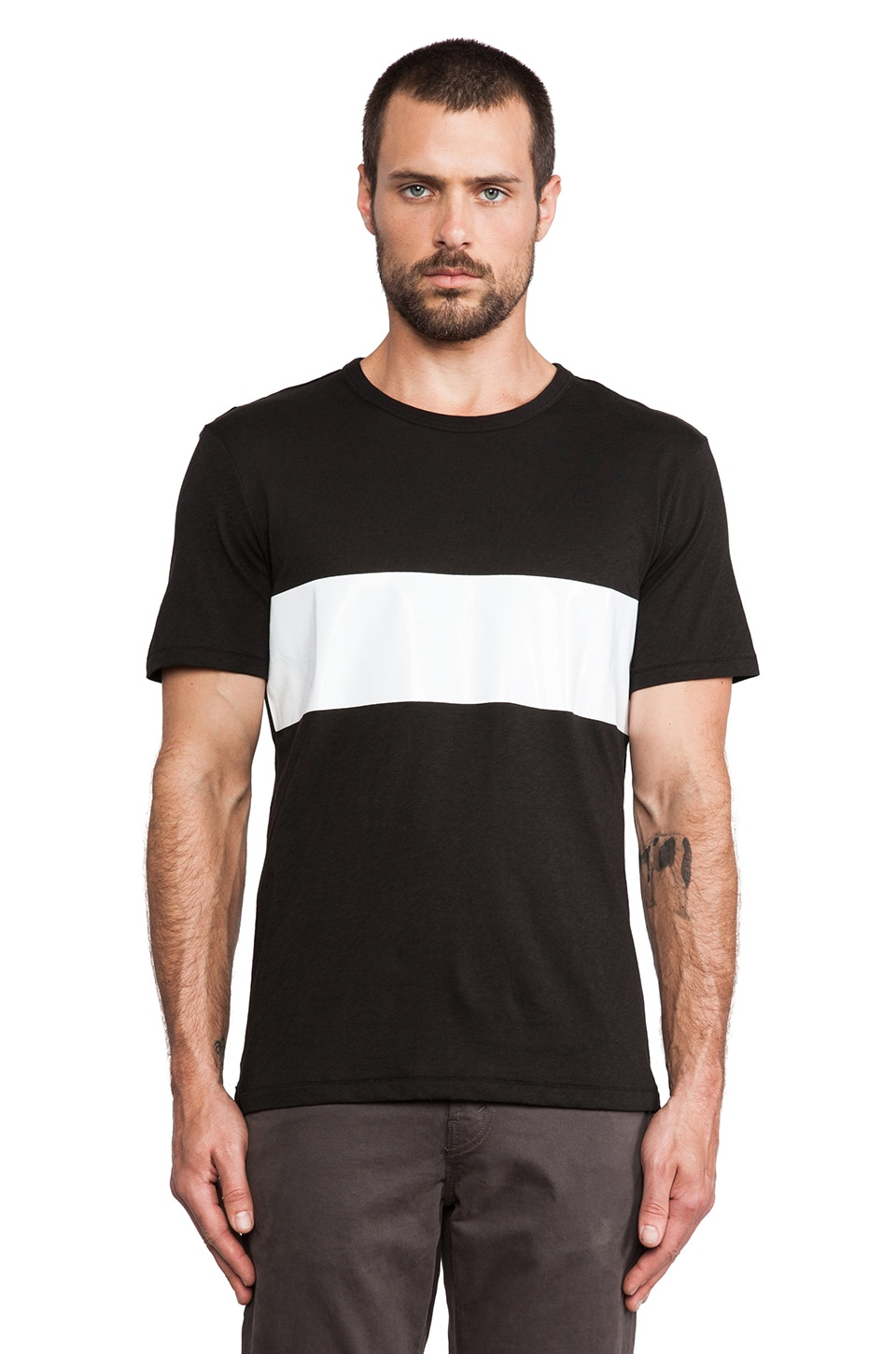 Rag & Bone Printed Stripe Tee in Black