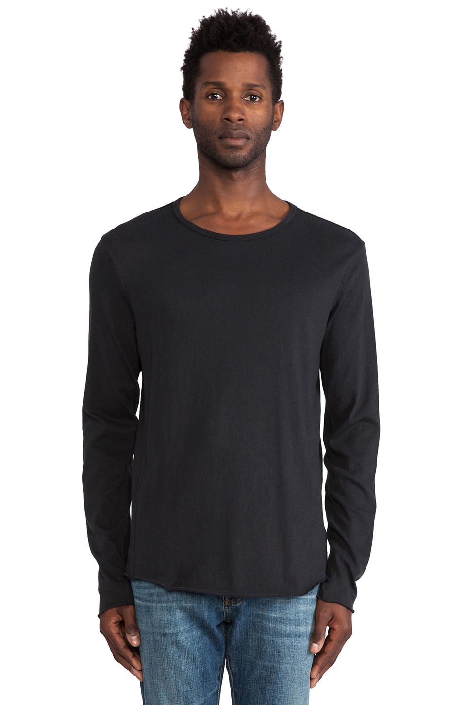 Rag & Bone Raw Edge LS Tee in Black