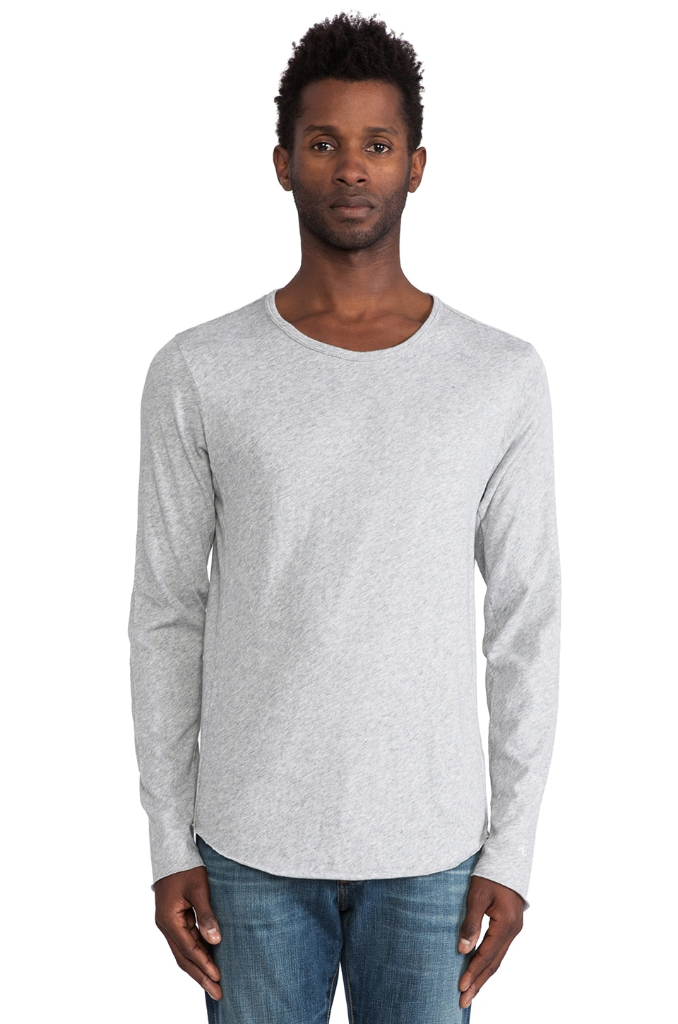 Rag & Bone Raw Edge LS Tee in Heather Grey