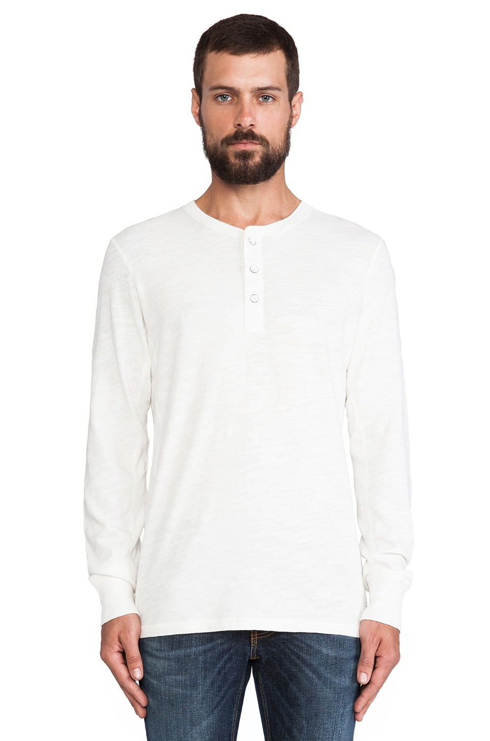 Rag & Bone Basic Henley in White