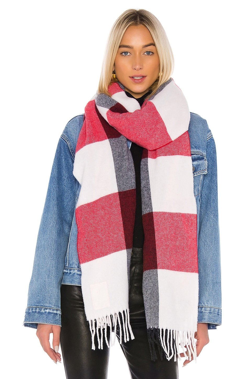 Rag & Bone Buffalo Plaid Scarf in Ivory Multi