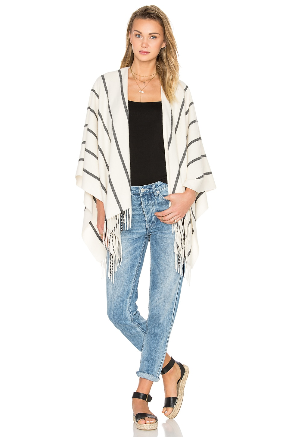 Rag & Bone Striped Poncho in Cream