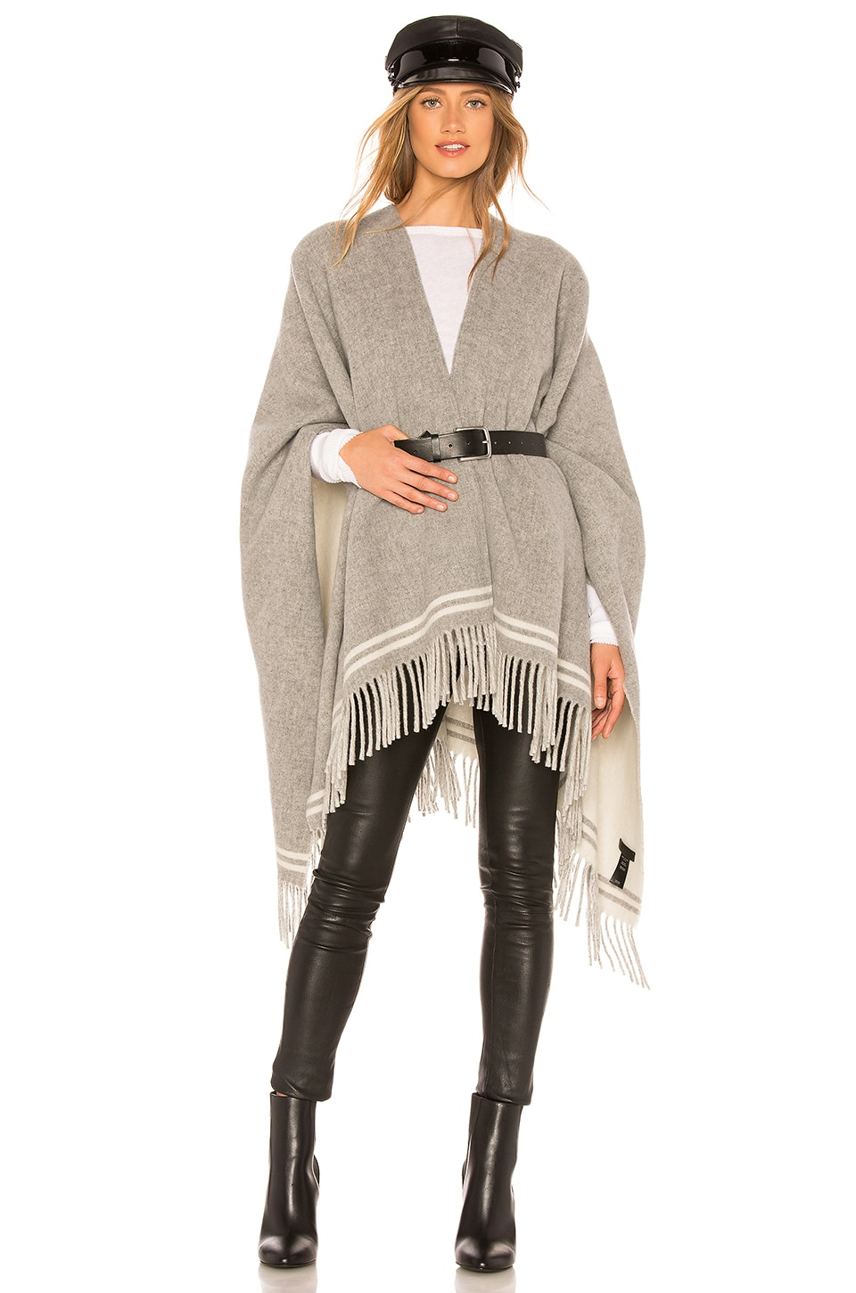 Rag & Bone Striped Poncho in Grey Multi