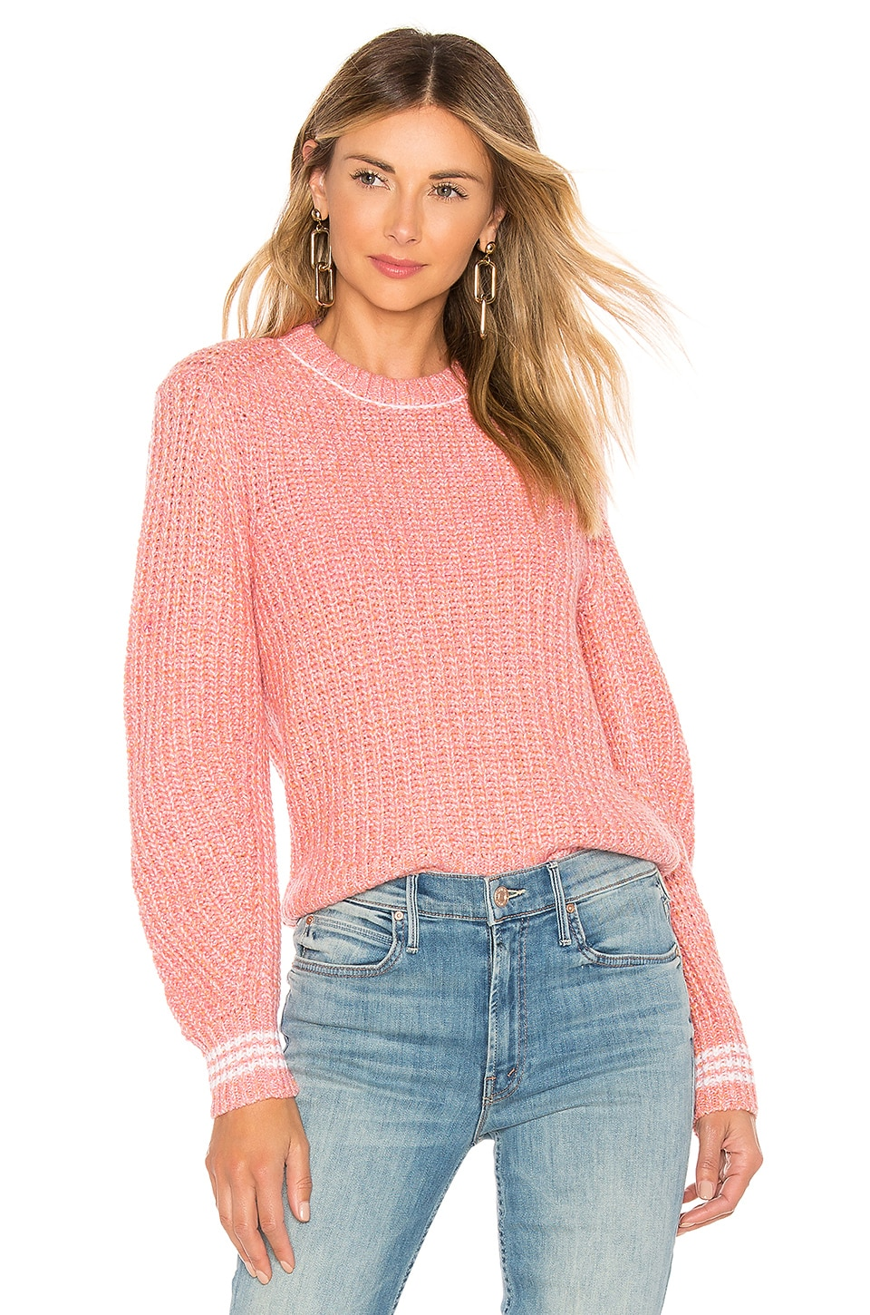 Rag & Bone Cheryl Crew Sweater in Pink Multi