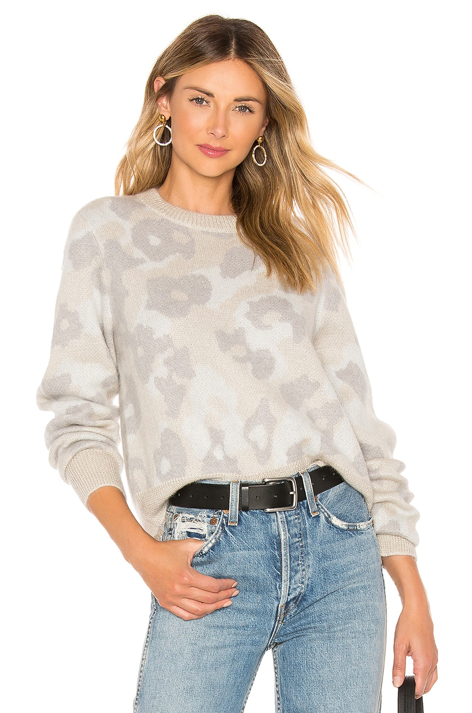 Rag & Bone Leopard Crew Sweater in Mink