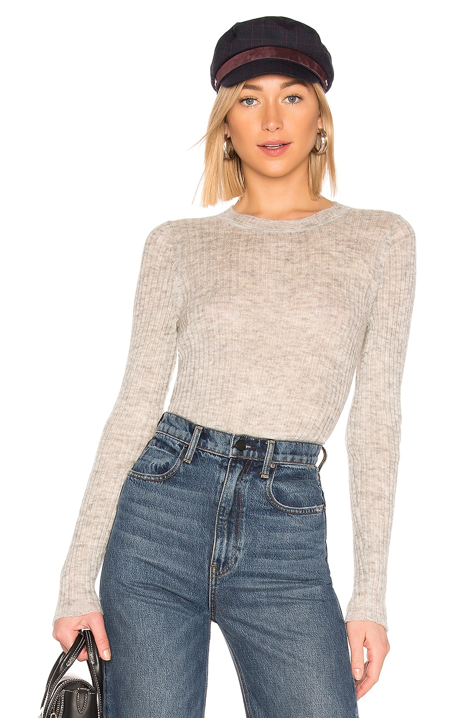 Rag & Bone Donna Crew Neck Sweater in Light Grey
