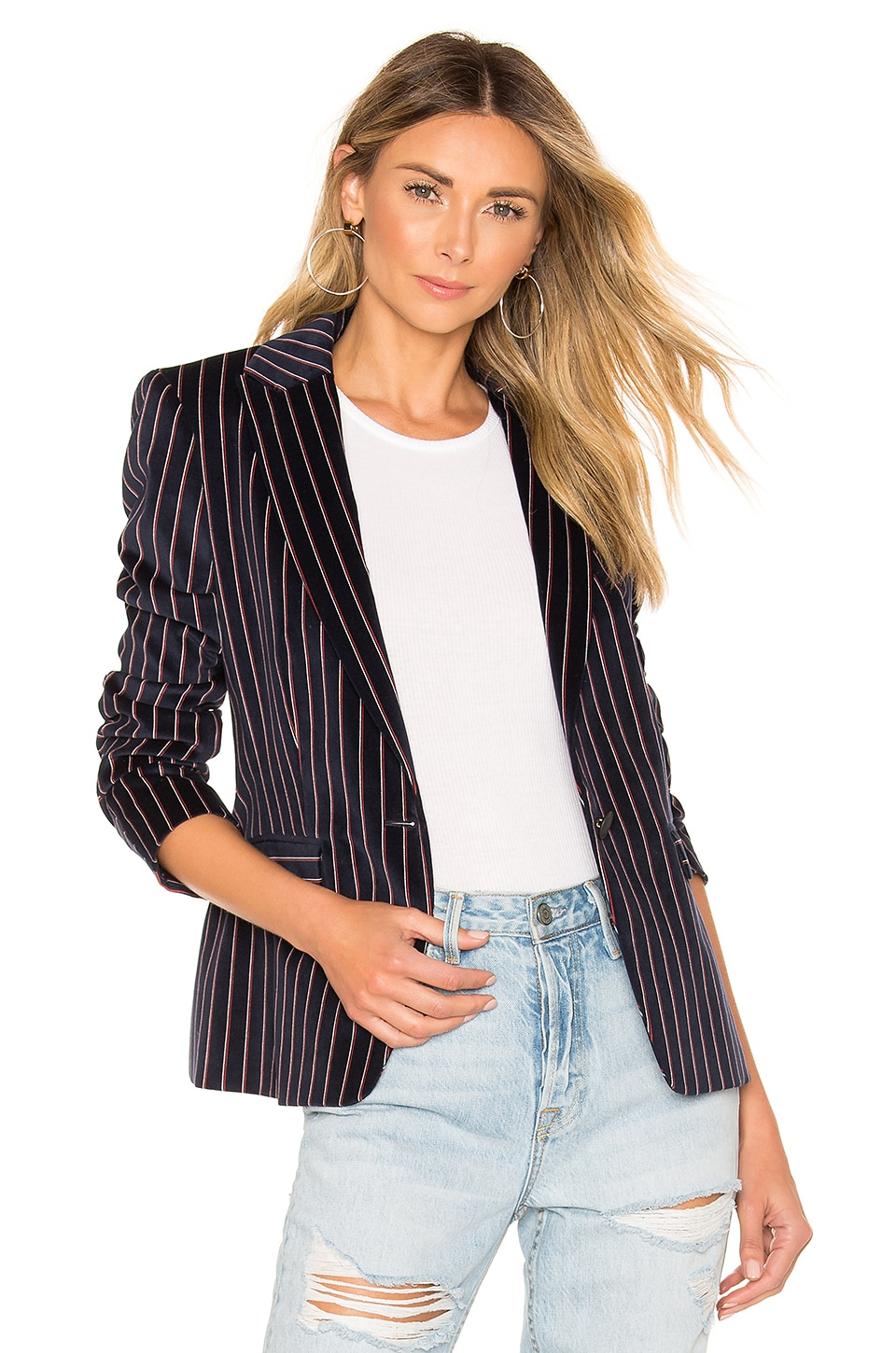Rag & Bone Lexington Velvet Blazer in Navy Stripe