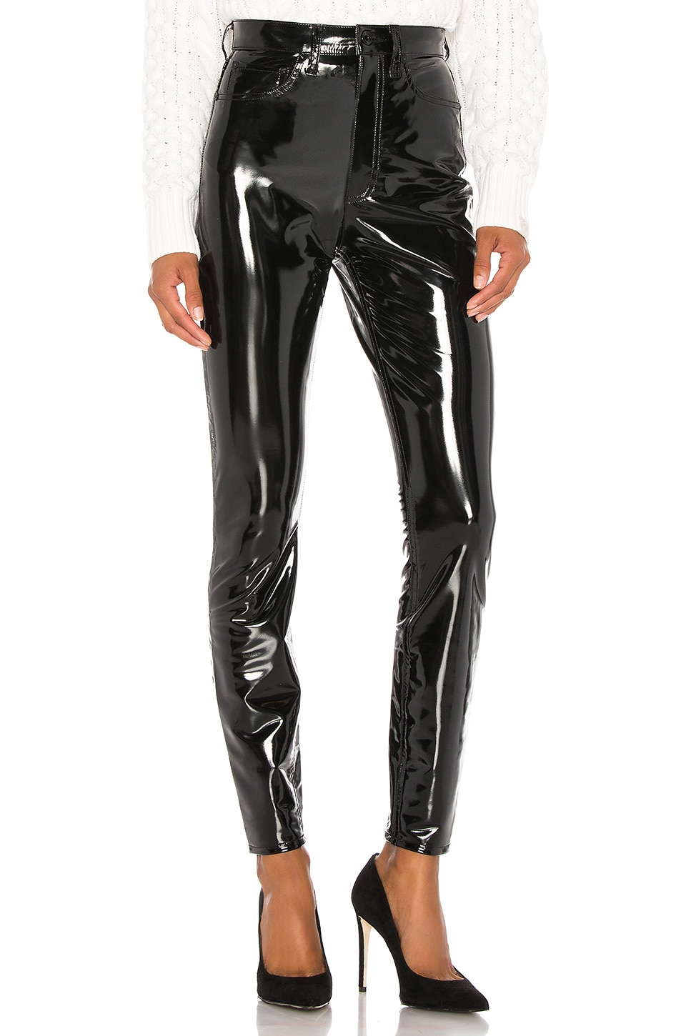 Rag & Bone Vinyl Super High Rise Ankle Skinny in Black