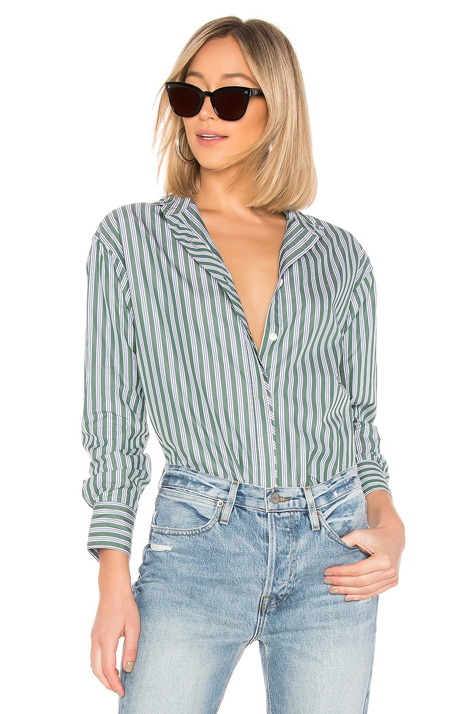 Rag & Bone Audrey Shirt in Green Stripe