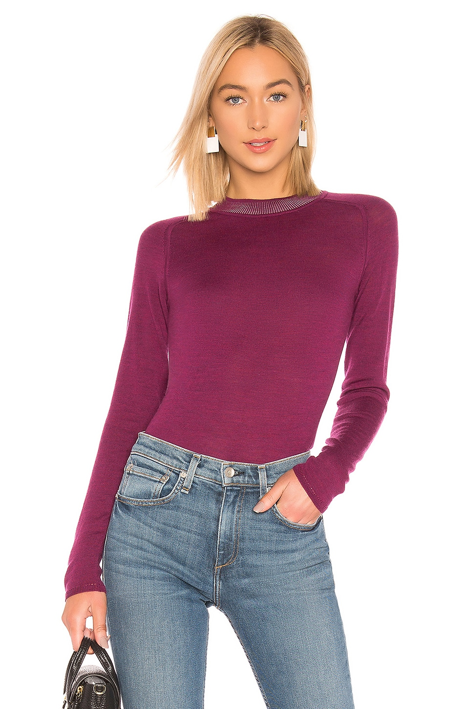 Rag & Bone Pamela Crew Neck Top in Magenta