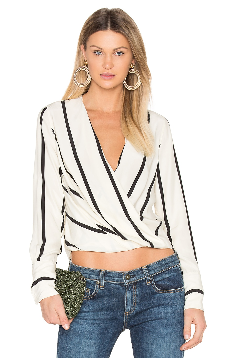 Rag & Bone Max Blouse in Beige Stripe