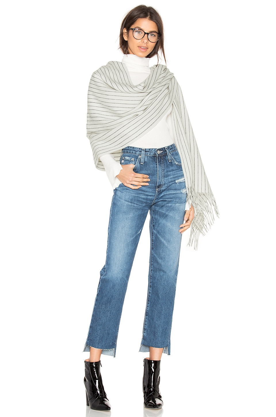 Rag & Bone Brushed Pinstripe Scarf in Ivory