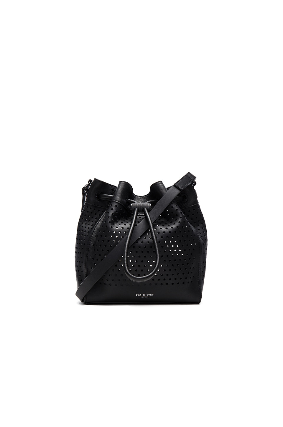 Rag & Bone Aston Mini Bucket Bag in Black Perforated