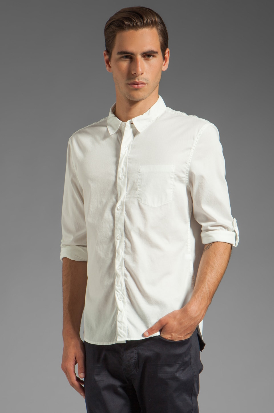 Rogue Long Sleeve Basic Button Down Shirt in White