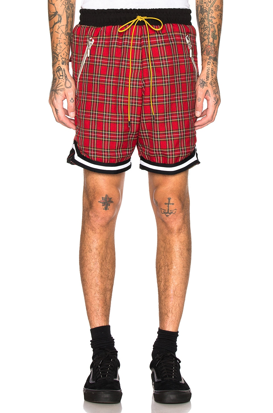 Rhude Plaid Basketball Shorts in Red