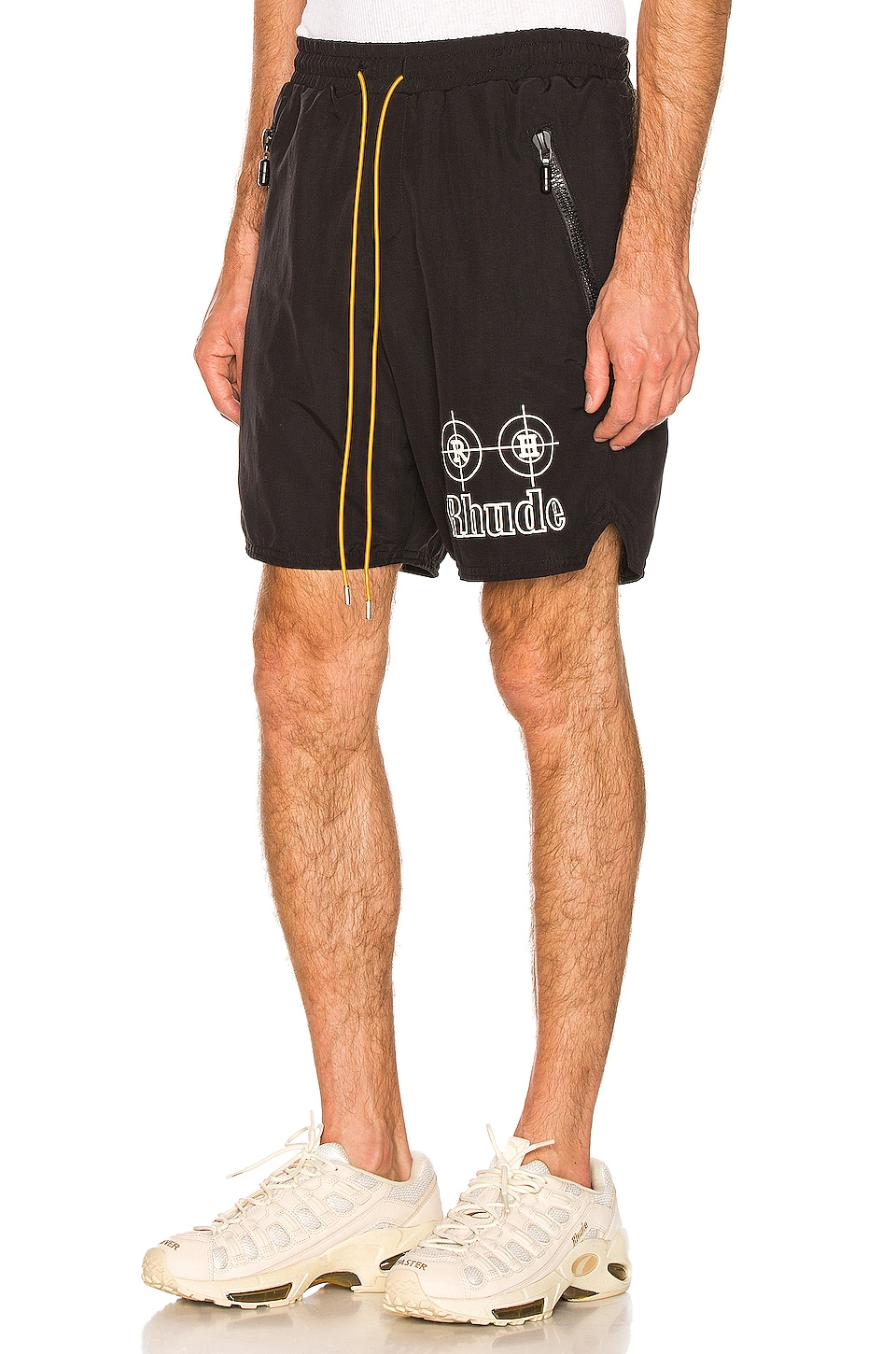 Rhude Neon Target Swim Trunks in Black & White