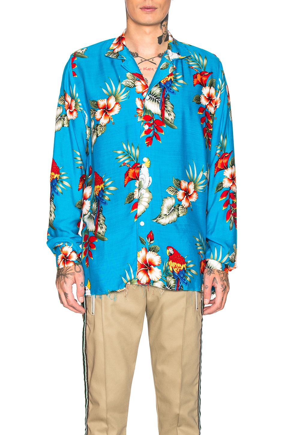 Rhude Hawaiian Birds of Paradies Shirt in Blue
