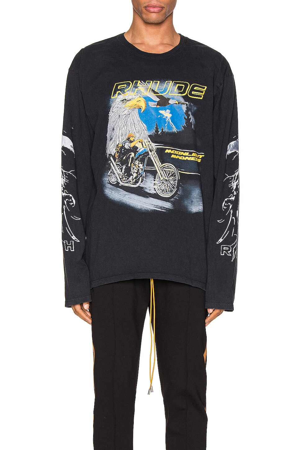Rhude Eagle Moto Longsleeve Tee in Black