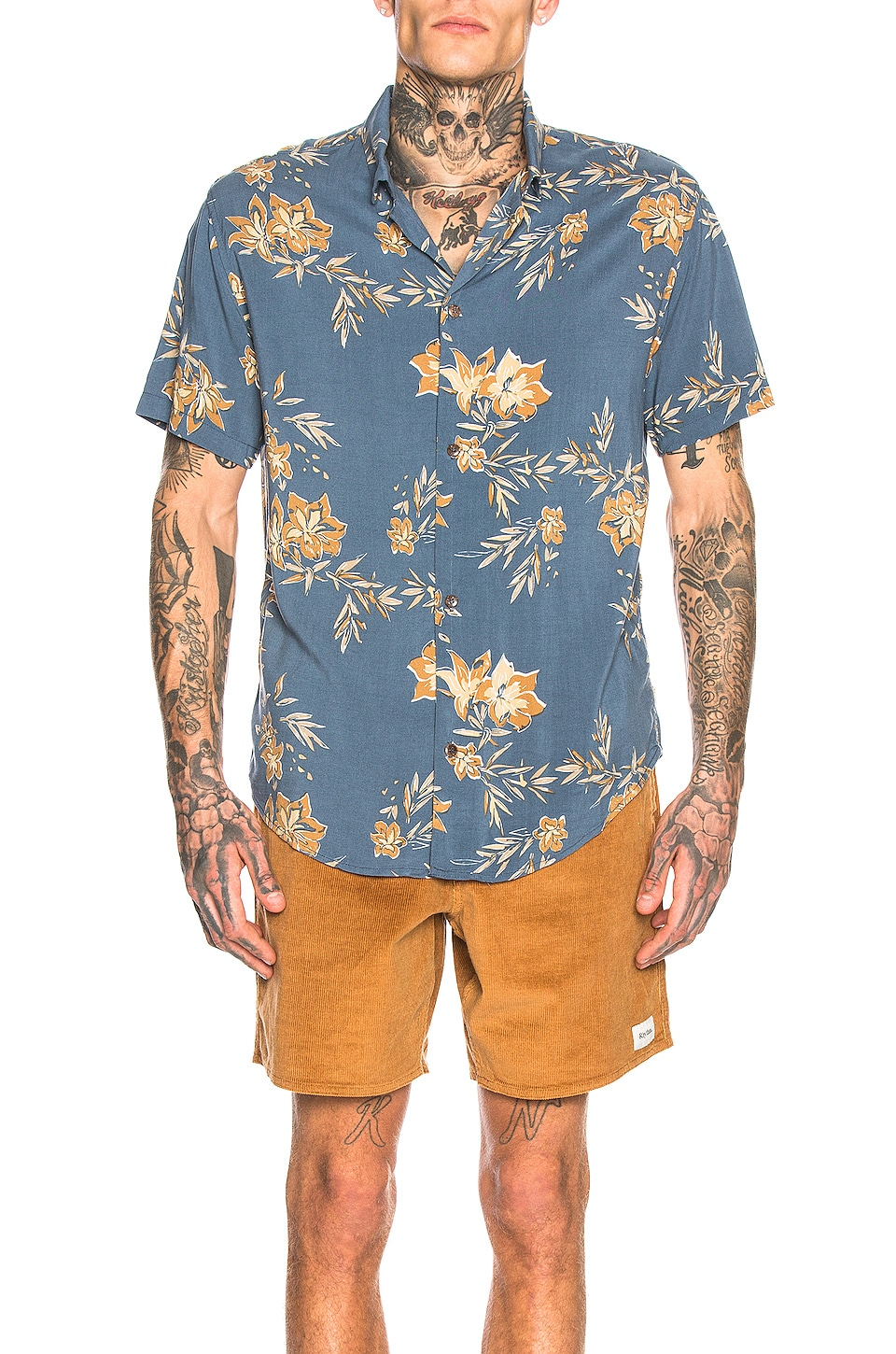 Rhythm Vintage Aloha Shirt in Pacific Blue