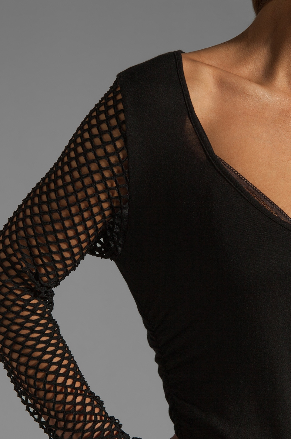 Riller & Fount Tyra Long Sleeve Shirred Mini with Fishnet Sleeves in Black