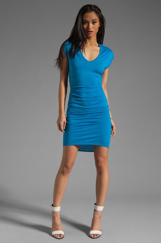 Riller & Fount Heidi Cap Sleeve Shirred Mini with High Low Hem in Blueberry