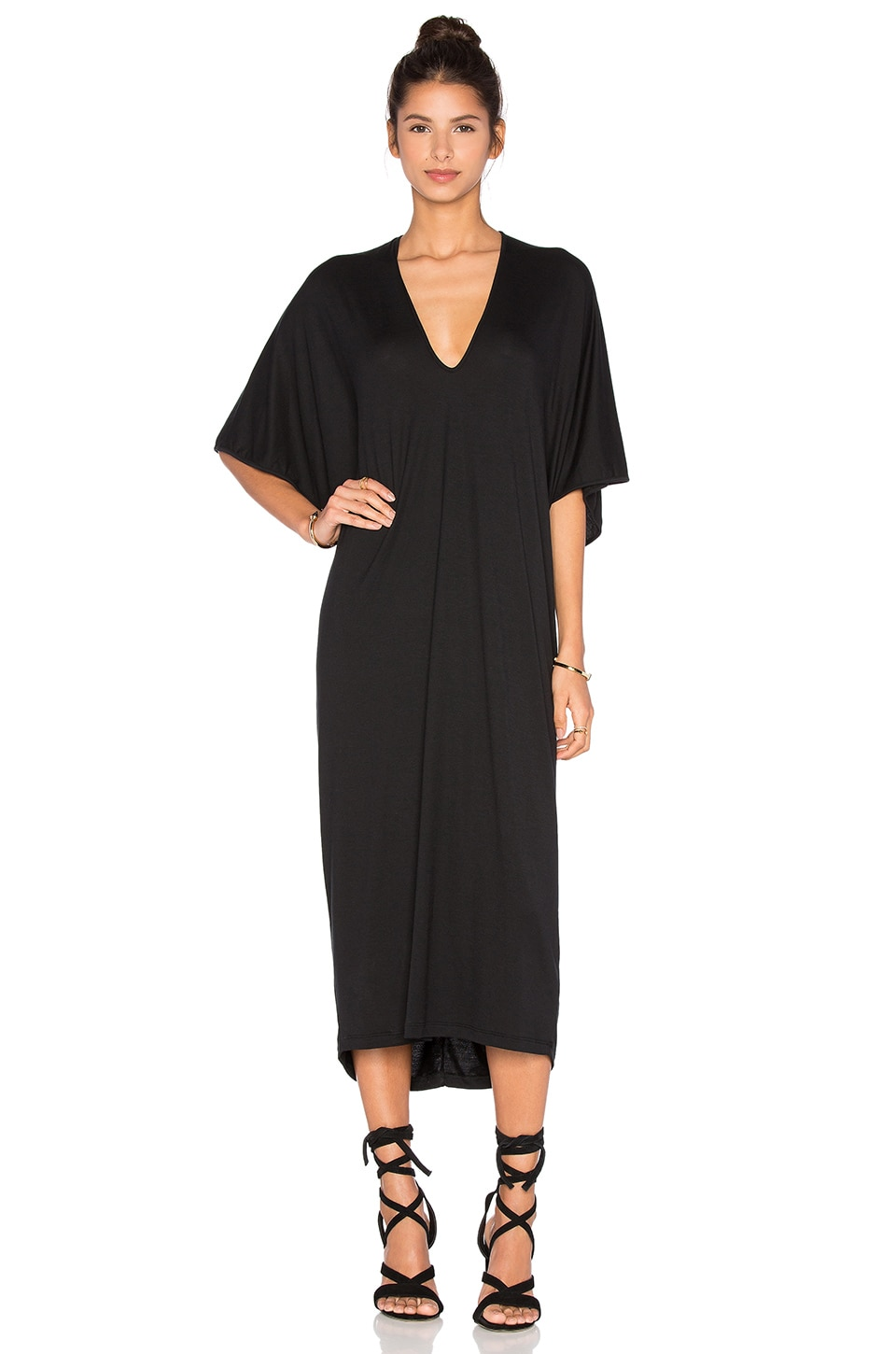 Riller & Fount Luca Caftan Maxi Dress in Obsidian