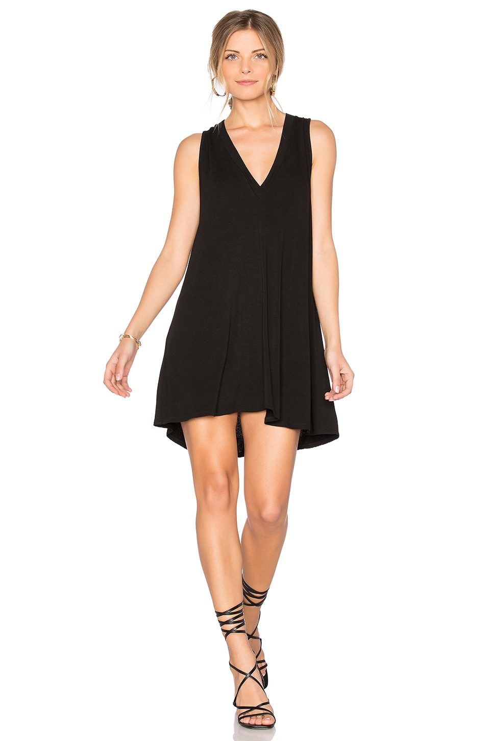 Riller & Fount Daley V Neck Dress in Noir