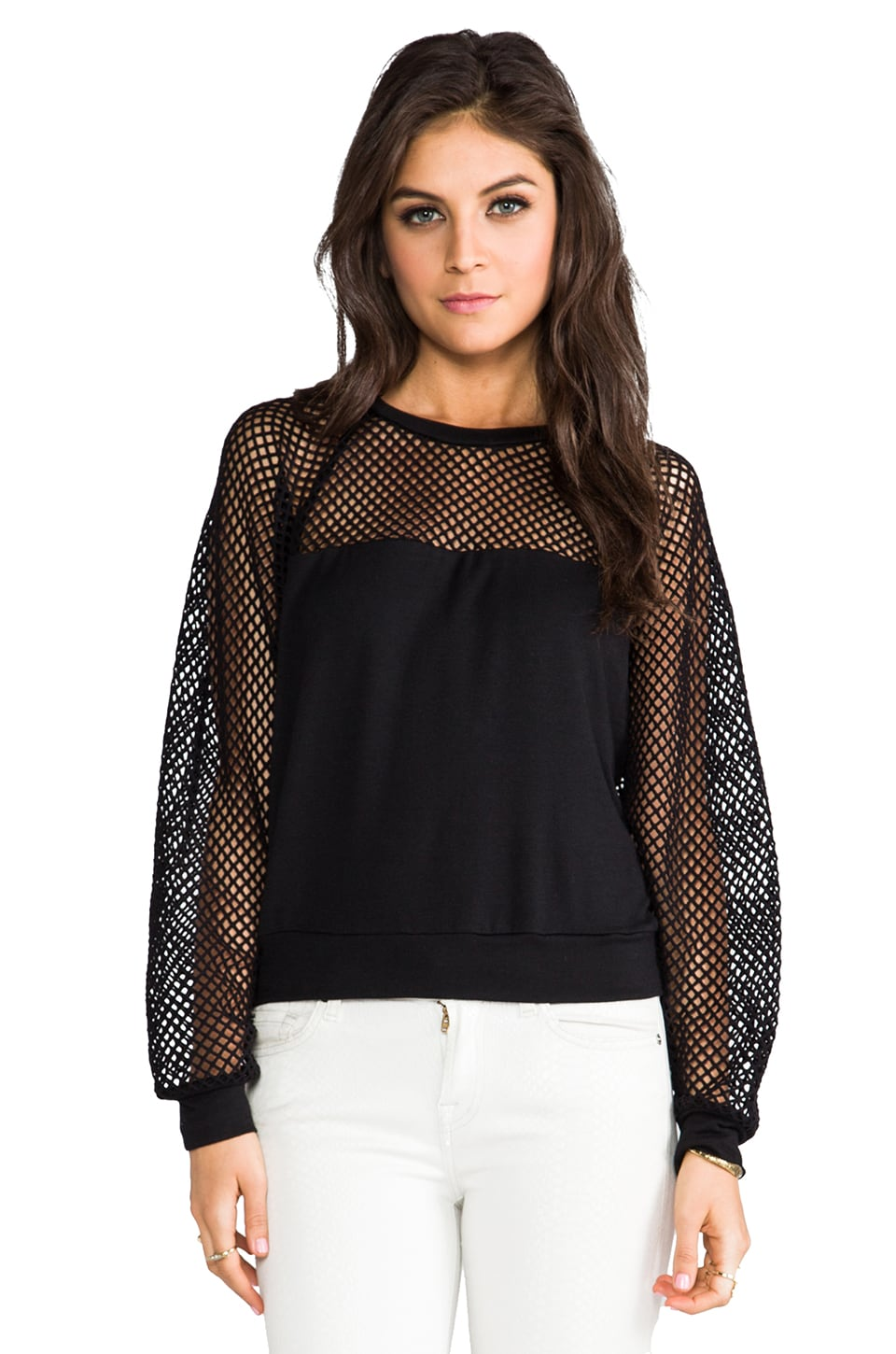 Riller & Fount Jimi Mesh Top in Black