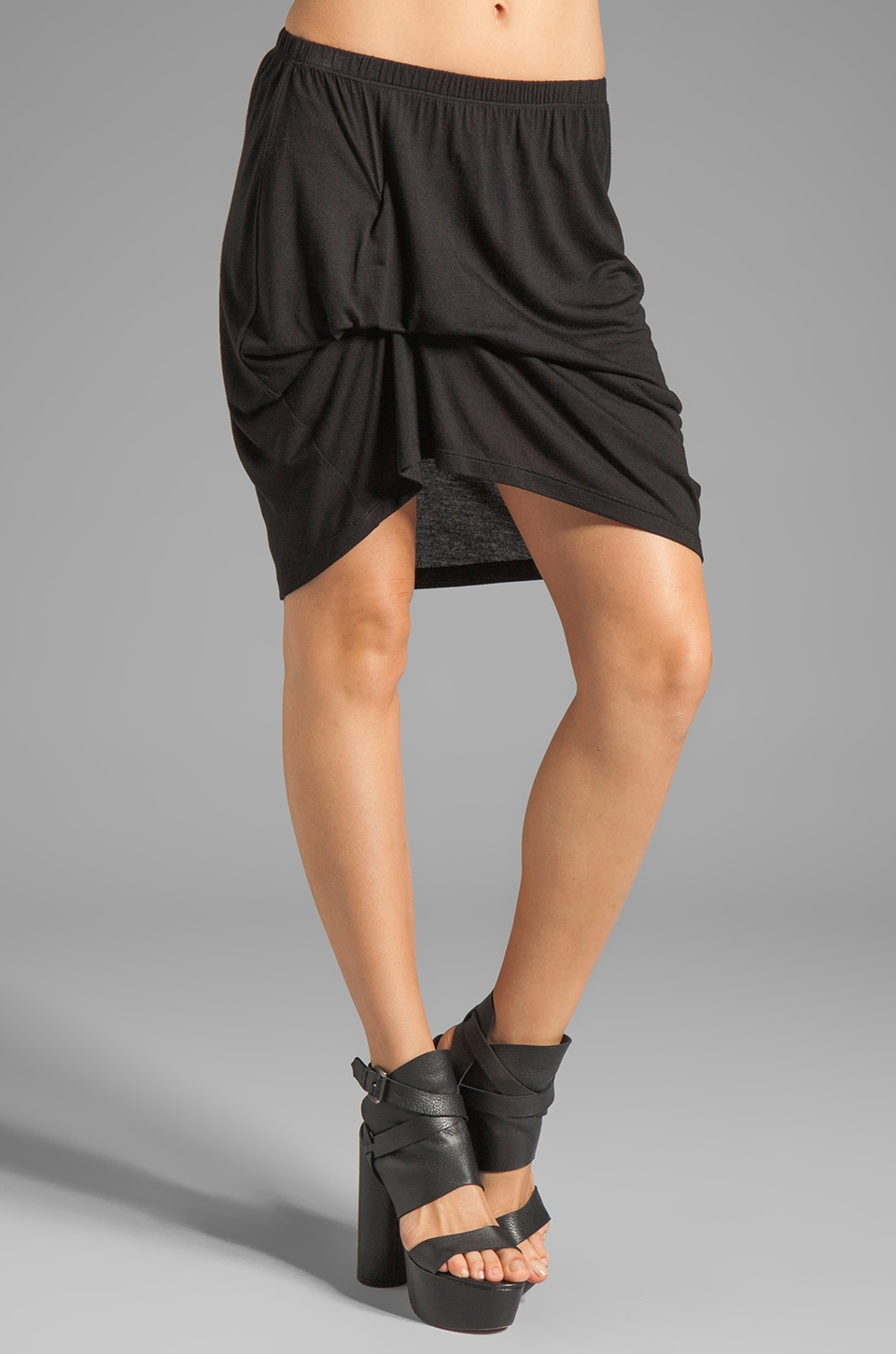 Riller & Fount Alicia Pinched Front Mini Skirt in Black