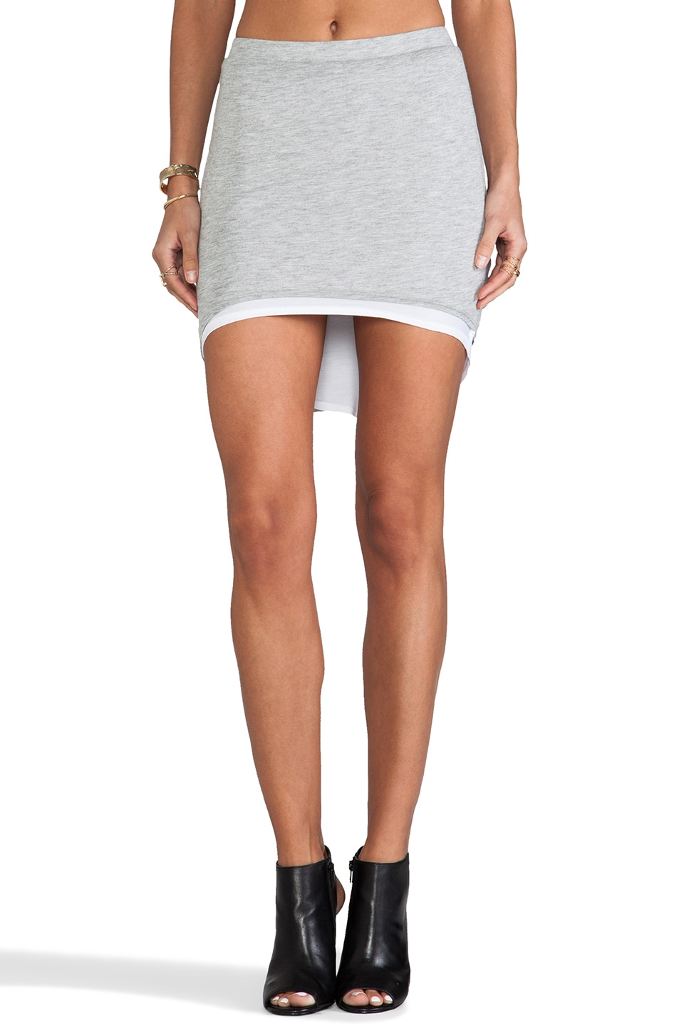 Riller & Fount Reversible High-Low Mini Skirt in Heather Grey/White