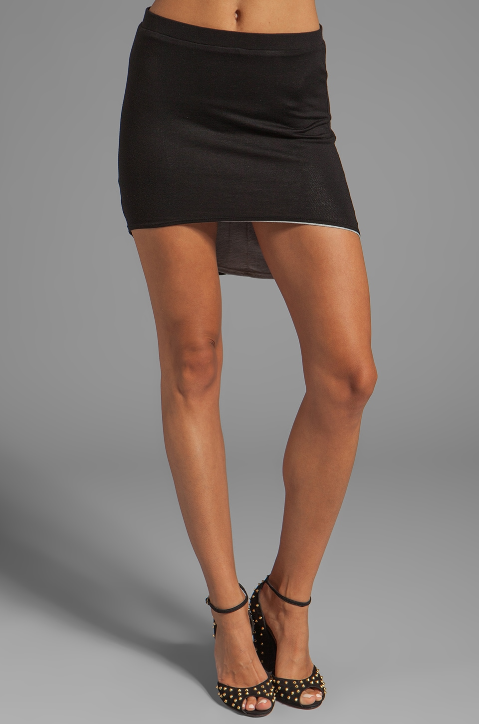 Riller & Fount Reversible High-Low Mini Skirt in Black/Heather Grey