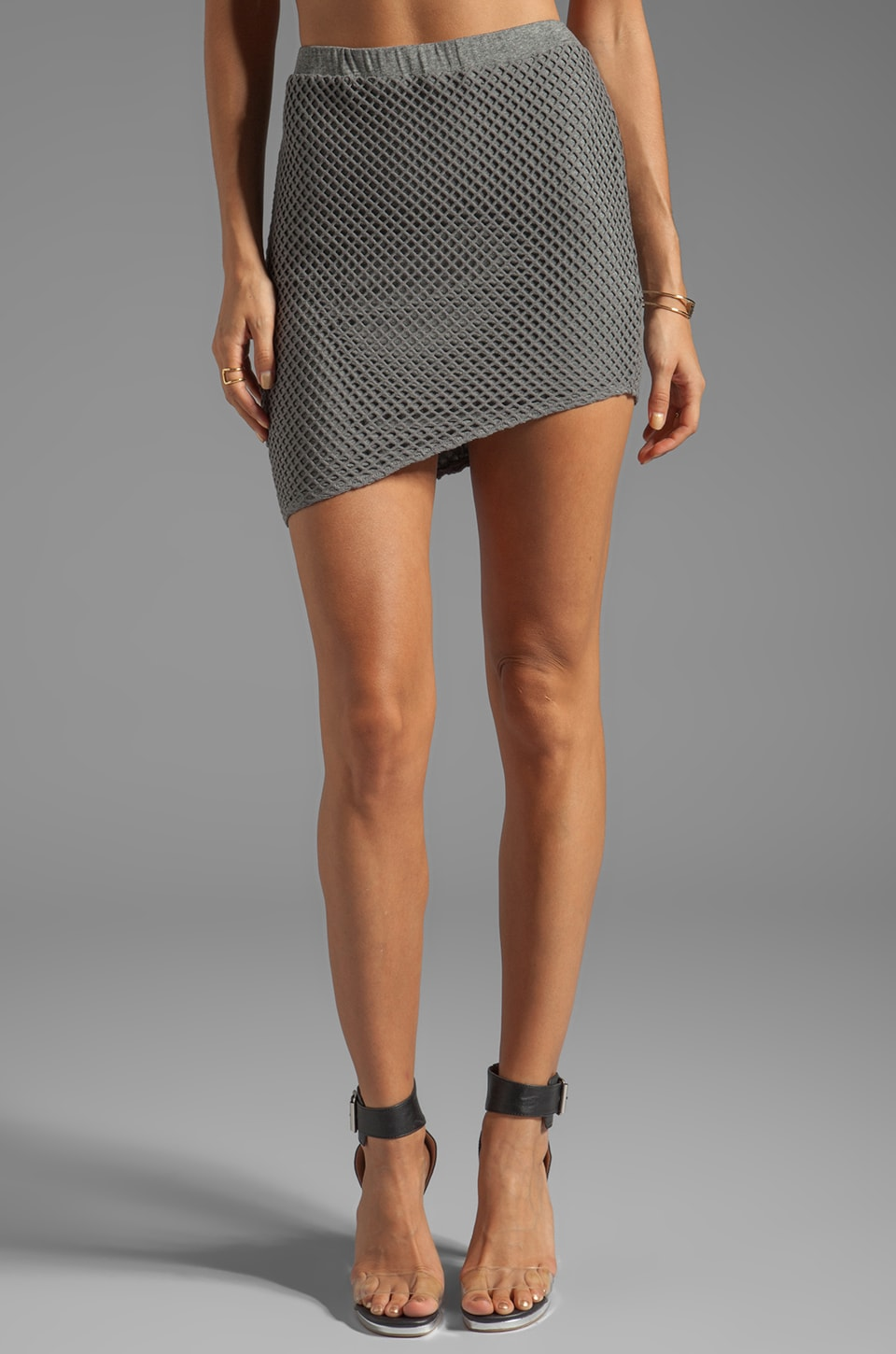 Riller & Fount Larry Fishnet Mini Skirt in Heather Ash