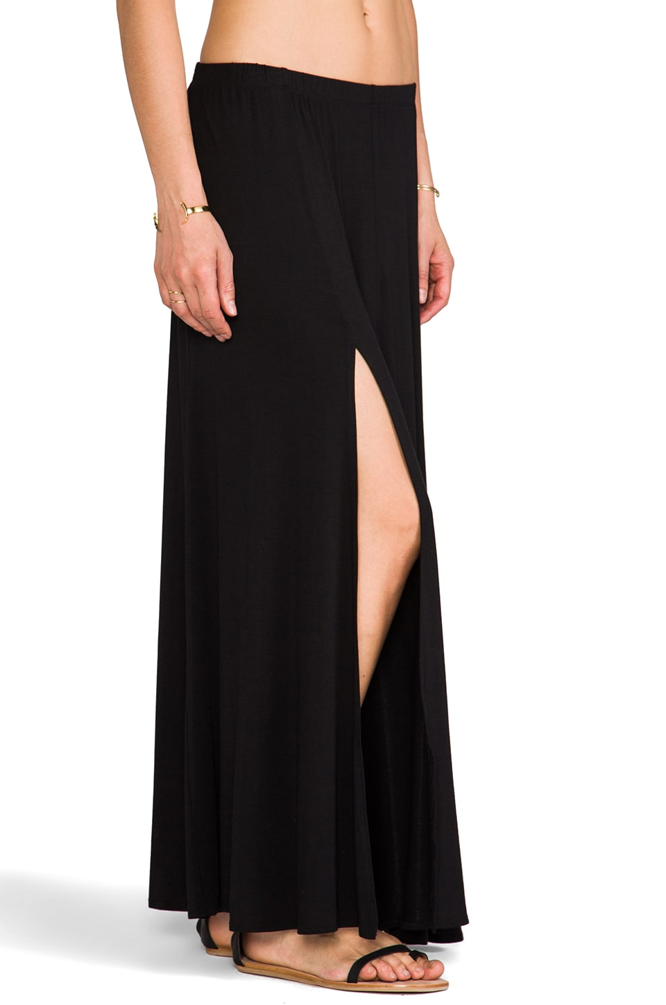 Riller & Fount Simon Double Front Slit Maxi Skirt in Black
