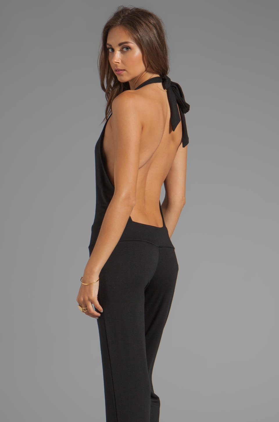 Riller & Fount REVOLVE Exclusive Nadja Halter Boot Cut Jumpsuit in Black