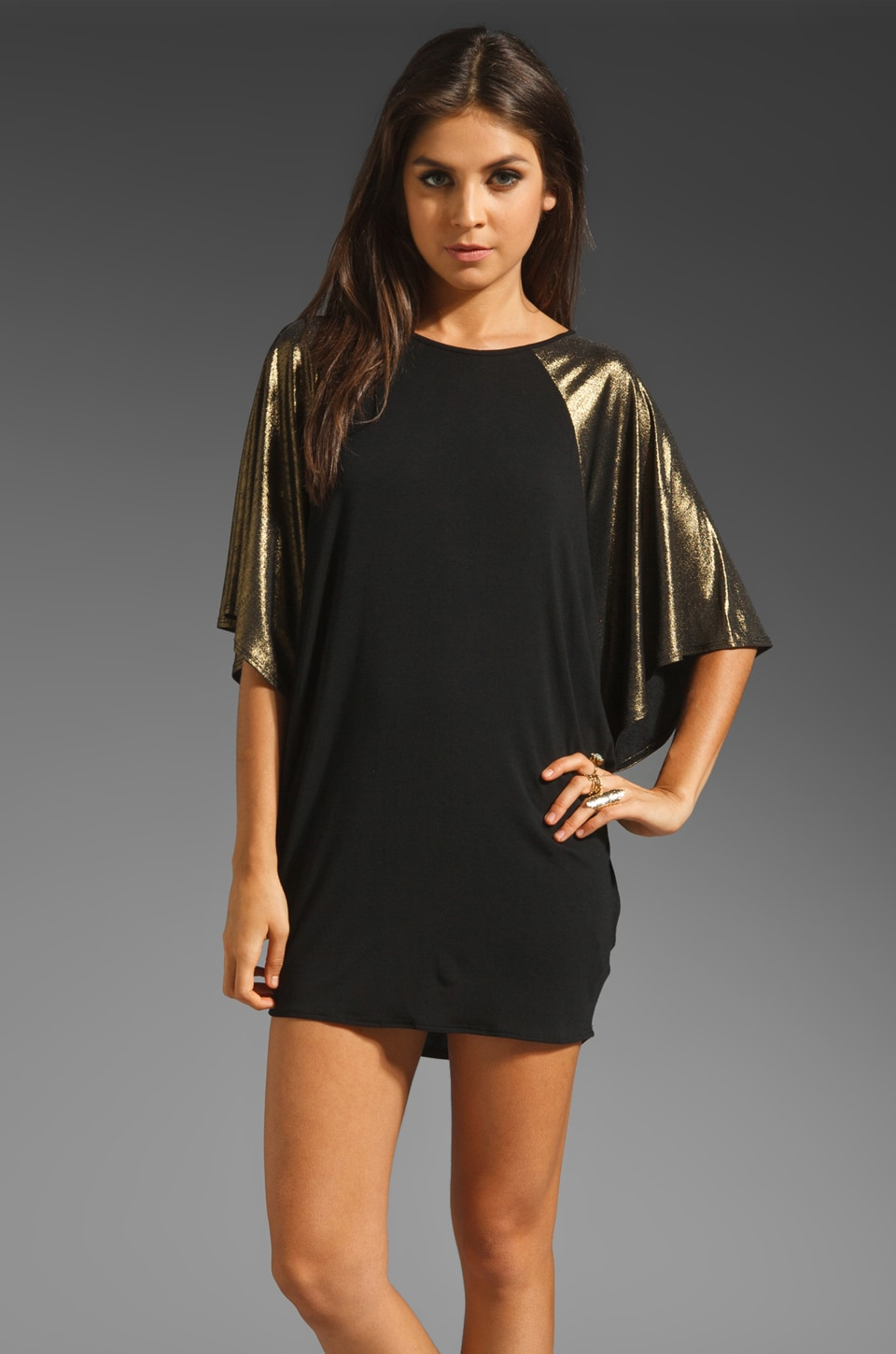 Riller & Fount Issac Short Sleeve Raglan Tunic in Bronze Metallic