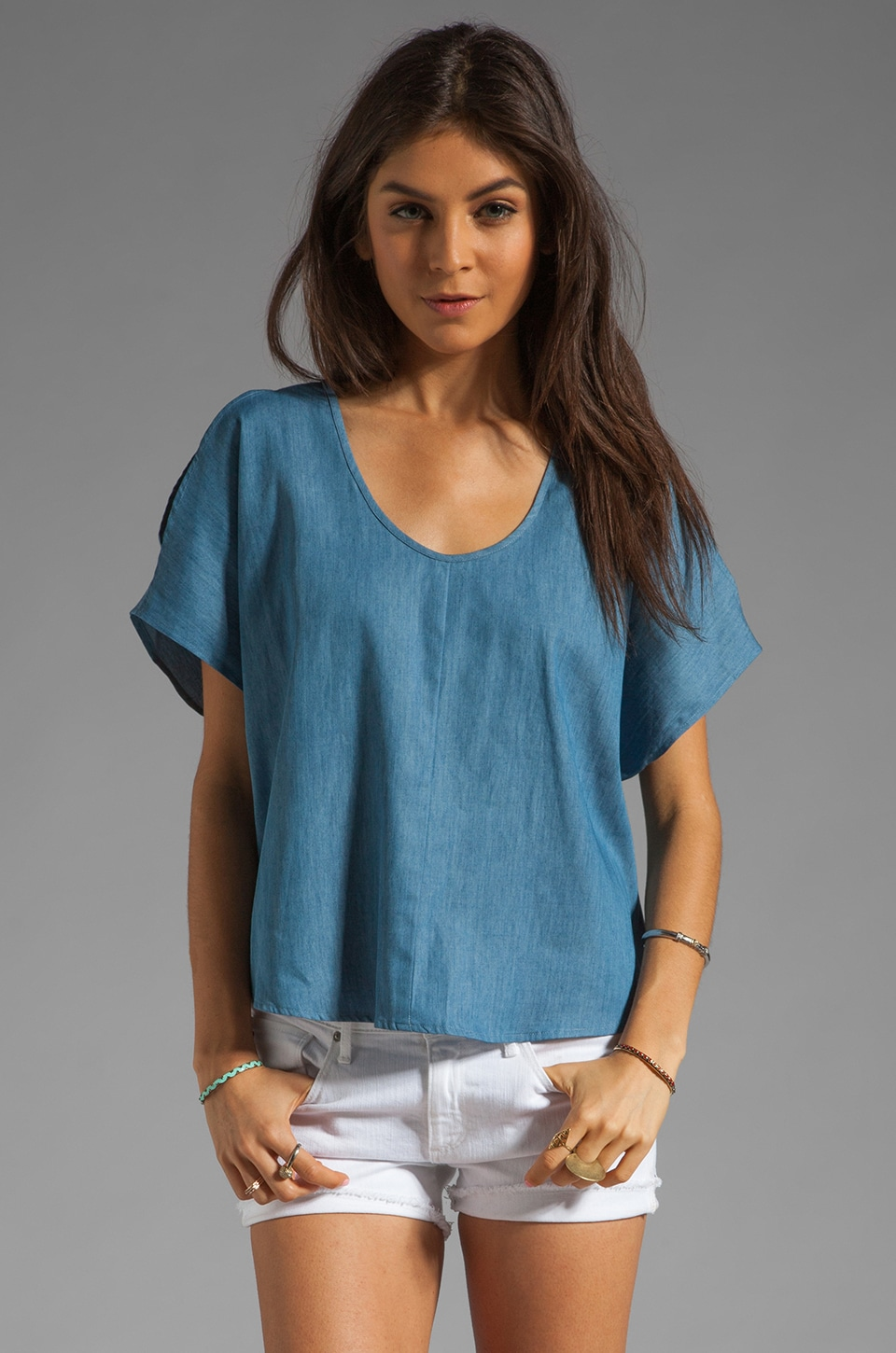 Riller & Fount Kara Split Shoulder Top with Back Slit in Midtown