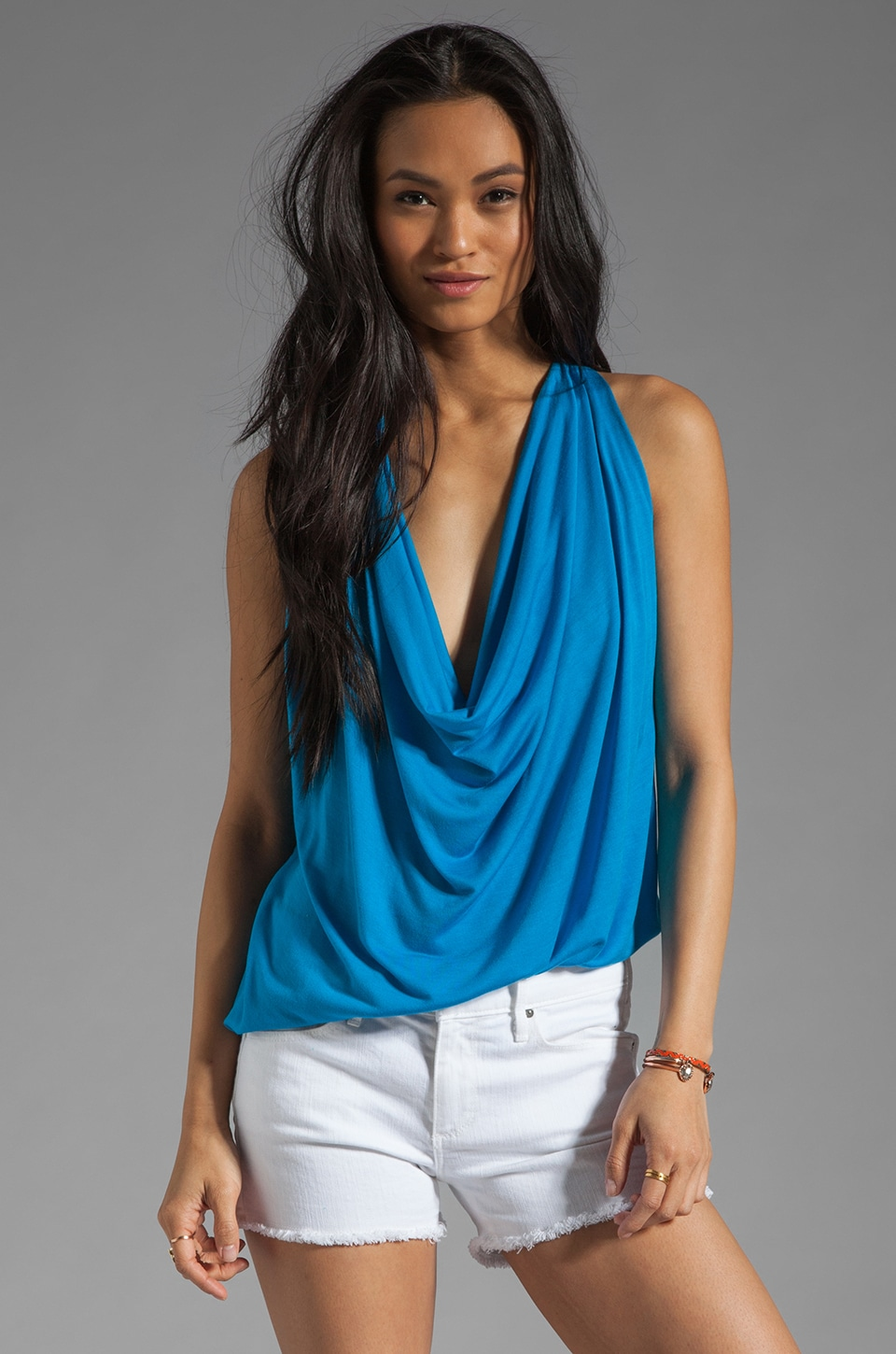 Riller & Fount Kim Draped Front Shirttail Tank in Blueberry