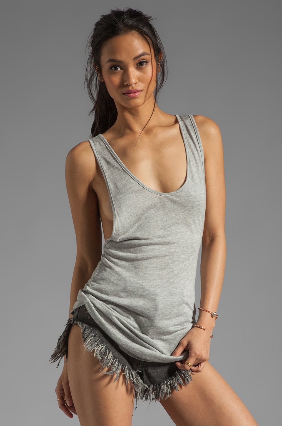 Riller & Fount Janice Low Cut Racerback Tank in Heather Grey