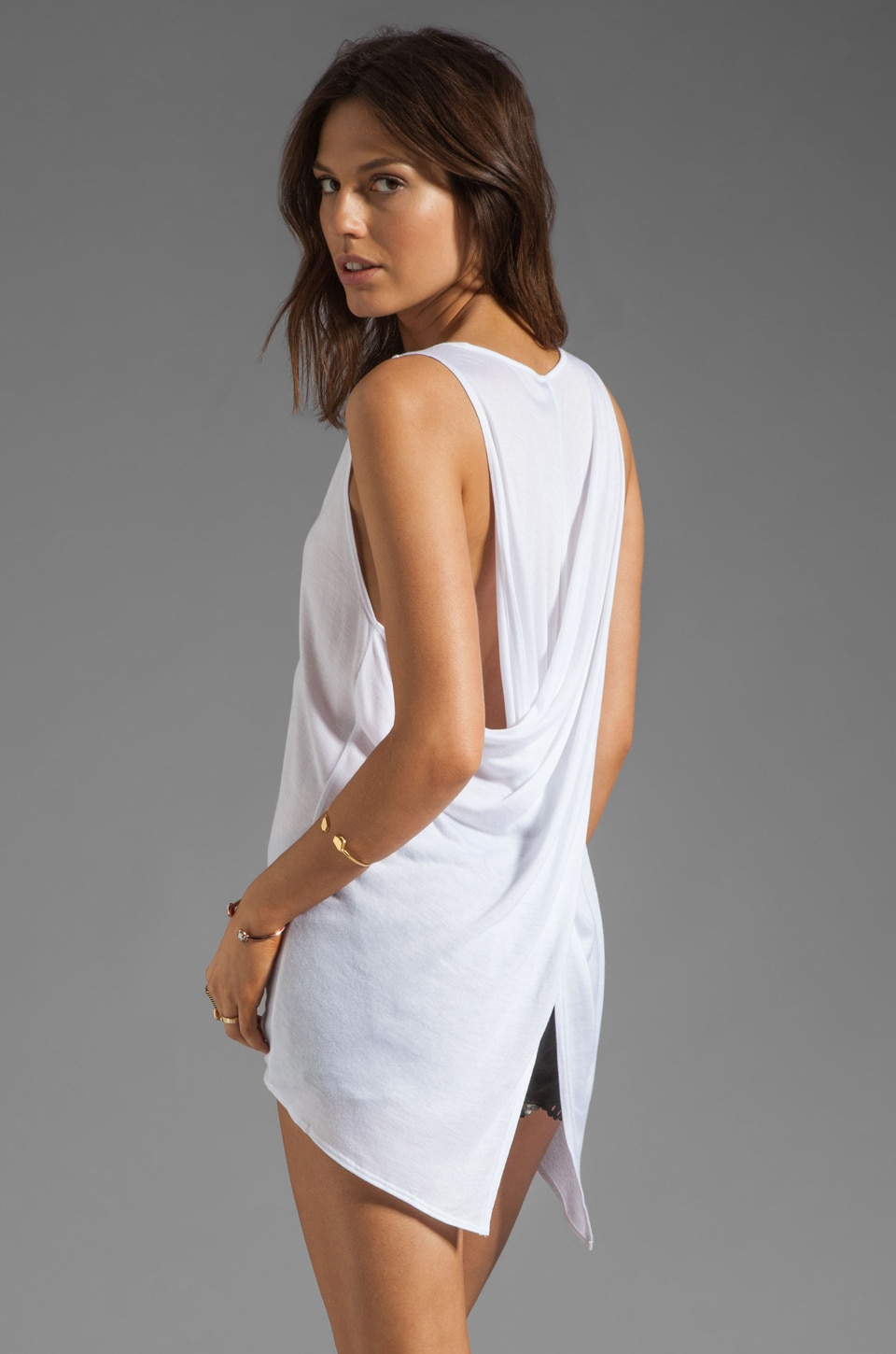 Riller & Fount Renee Criss Cross V Neck Tank in White