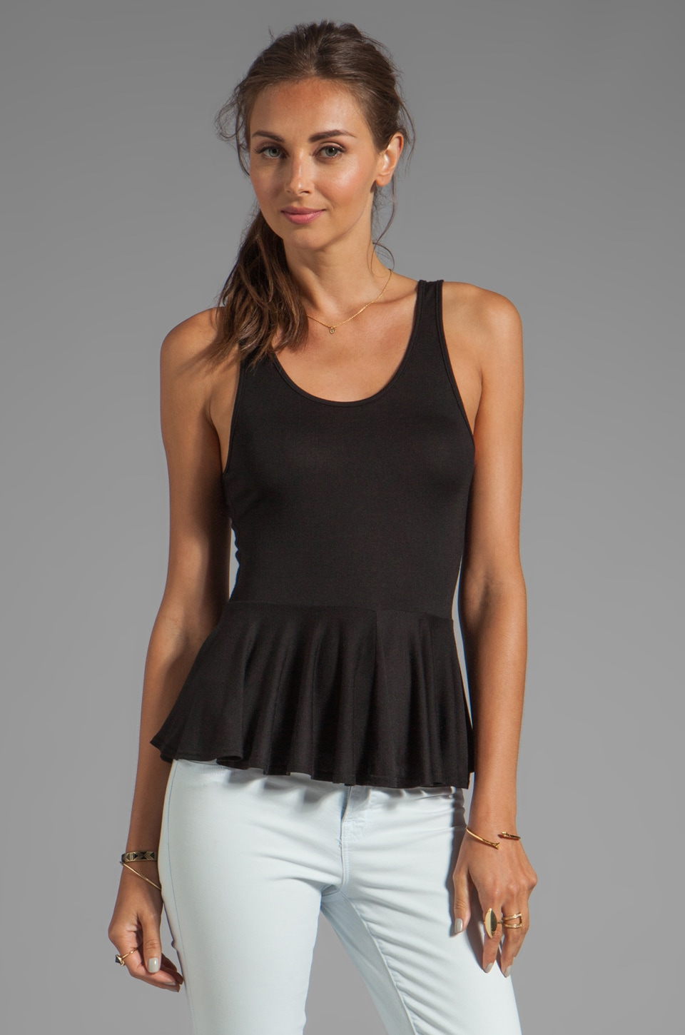 Riller & Fount Leona Scoop Neck Peplum Tank in Black