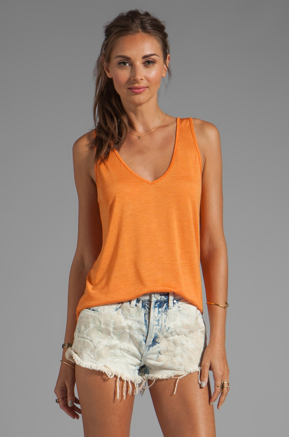 Riller & Fount Khia Loose V Neck Basic Tank in Sunset