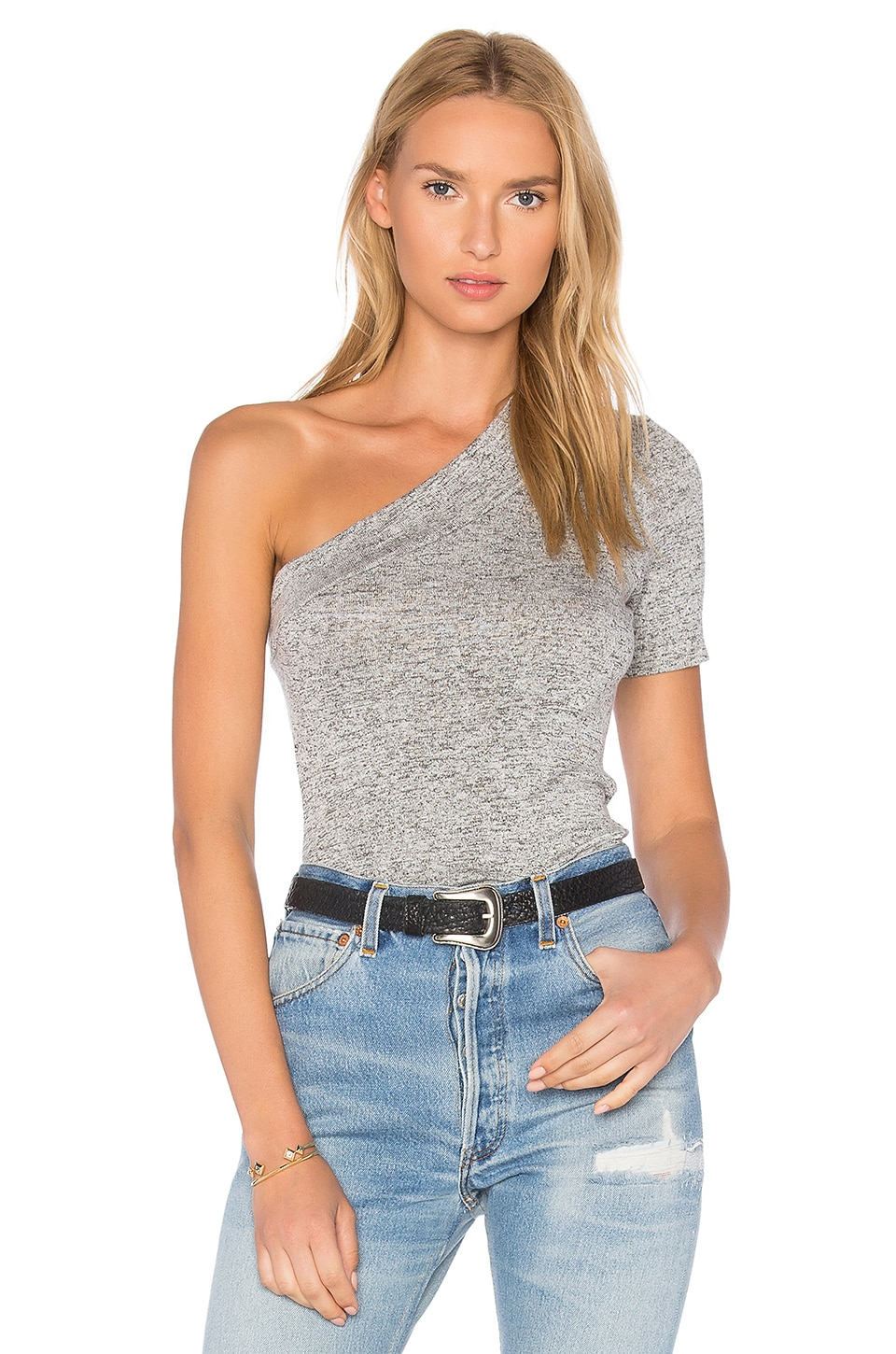 Riller & Fount Lou One Shoulder Top in Pebble