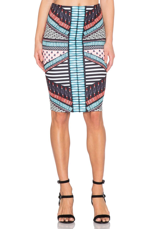 RISE OF DAWN Panama Pencil Skirt in Tribal Bead
